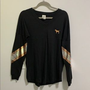 NWOT Pink long sleeve tee with sequence.